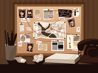 Detective Board Doodle Composition