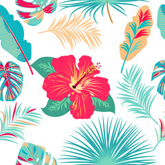 Vector tropical jungle seamless pattern with palm trees leaves and flowers