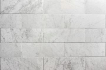 subway tile carrara marble wall background Fototapete
