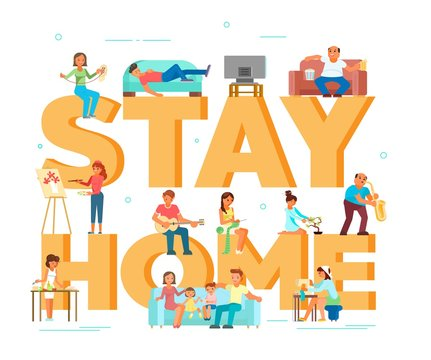 Stay home due to coronavirus pandemic vector typography banner