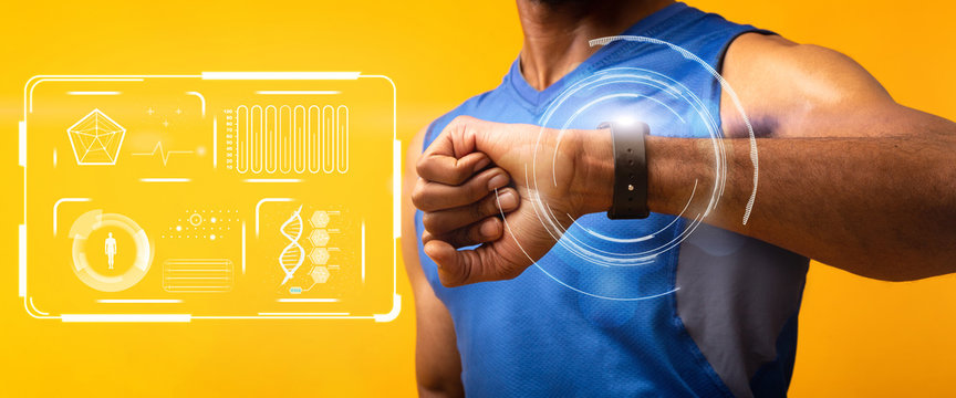 African American guy using fitness watch to monitor health and exercise on orange background, collage