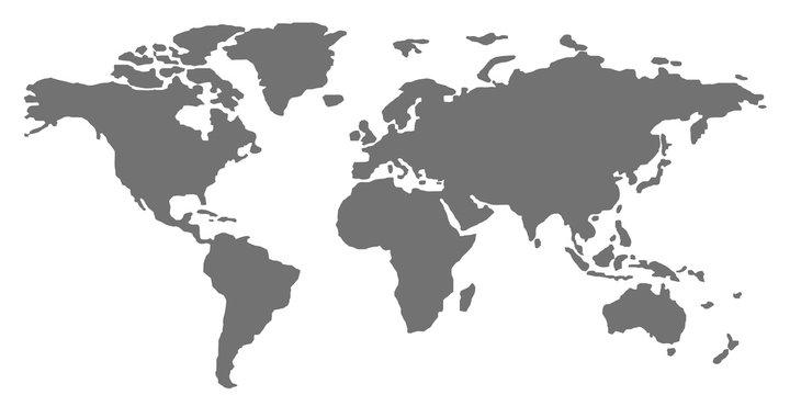 World map on white background. Stylized vector illustration.
