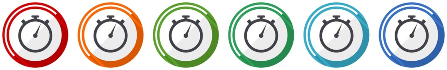 stopwatch icon set, flat design vector illustration in 6 colors options for webdesign and mobile applications