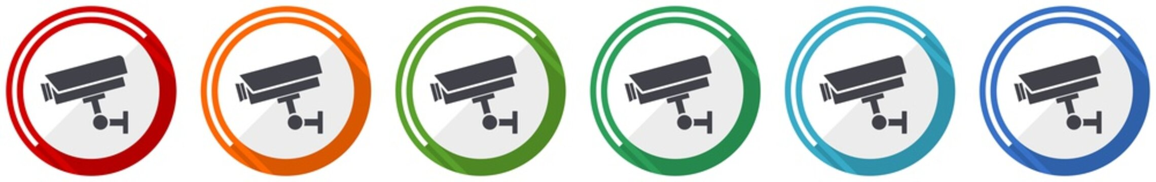 Cctv camera icon set, flat design vector illustration in 6 colors options for webdesign and mobile applications