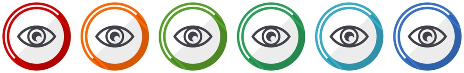 Eye icon set, see, vision, sight and view flat design vector illustration in 6 colors options for webdesign and mobile applications