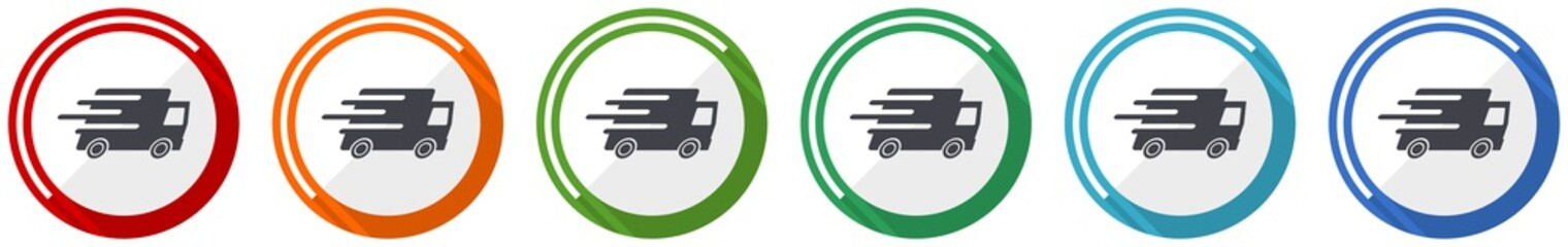 Speed transport icon set, fast delivery, truck flat design vector illustration in 6 colors options for webdesign and mobile applications Wall mural