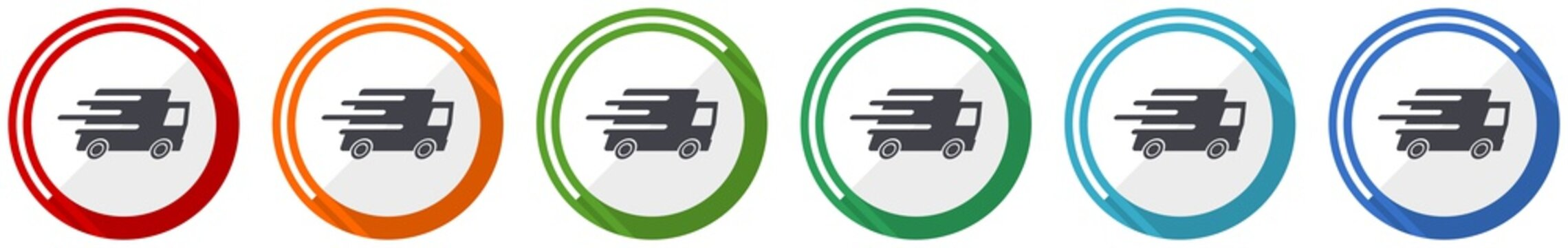 Speed transport icon set, fast delivery, truck flat design vector illustration in 6 colors options for webdesign and mobile applications