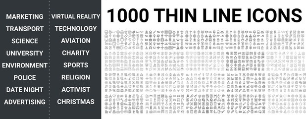 Big set of 1000 thin line icon.Digital marketing, transportation, science, university, education, advertising, police, date night, technology, virtual reality, aviation,sports, religion icons, ui pack Fotomurales