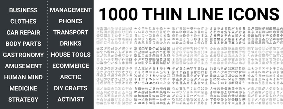 Big set of 1000 thin line icon. Business, clothes, car repair, body parts, gastronomy, amusement, human mind, medicine, strategy, management, transport, ecommerce, phones, food, drink icons, ui pack