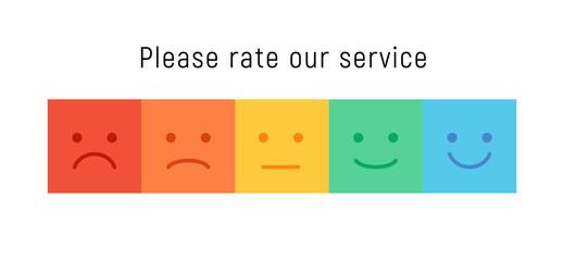Smiley rate scale emotion emoji icon. Feedback rate survey emoticon satisfaction meter.