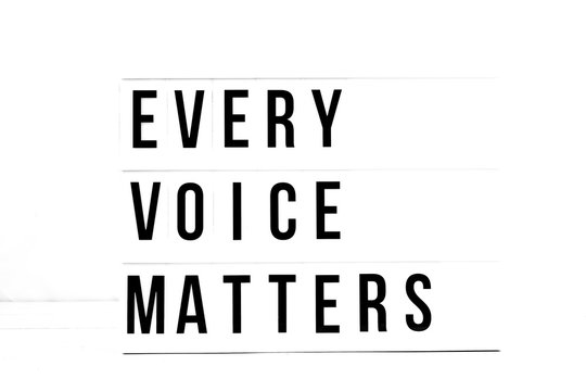 Every Voice Matters flat lay on a white background. Political Change Vintage Retro quote board