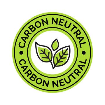 Carbon neutral icon stamp. CO2 energy monoxide carbon ecology background label concept