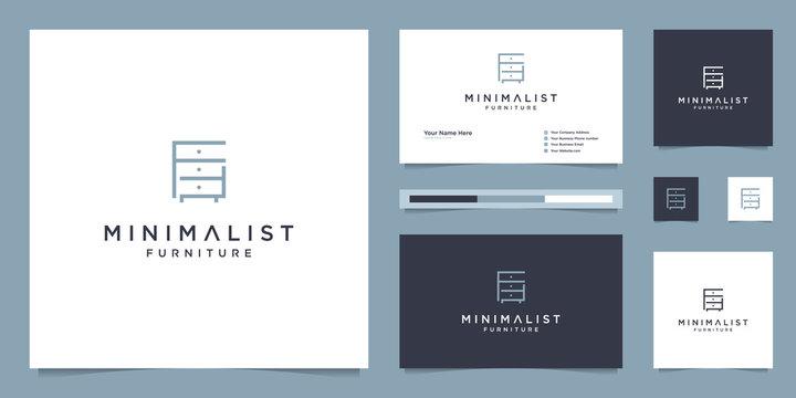 Minimalist furniture logo design interior with business card template
