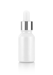 white glass dropper serum bottle isolated on white background