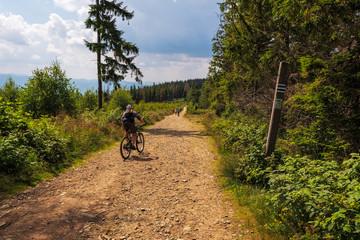 Obraz Jazda rowerem górskim po szlakach Beskidu Śląskiego - fototapety do salonu