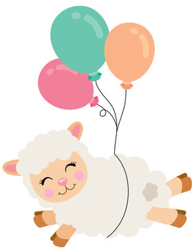 Cute lamb flying with heart balloons
