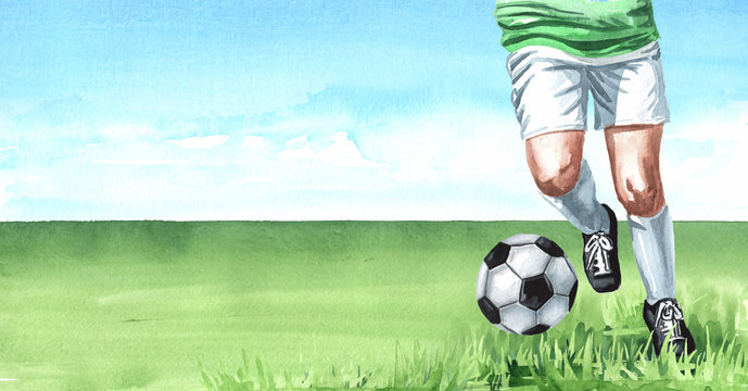 Football soccer player with Ball on the green grass. Hand drawn watercolor illustration  background with copy space