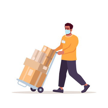 Delivery guy in surgical mask semi flat RGB color vector illustration. Courier with parcels isolated cartoon character on white background. Ordering service in covid19 outbreak, pandemic time