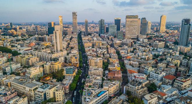 Tel Aviv city center, Israel, aerial drone view