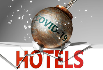 Hotels and coronavirus, symbolized by the virus destroying word Hotels to picture that covid-19  affects Hotels and leads to a crash and crisis, 3d illustration