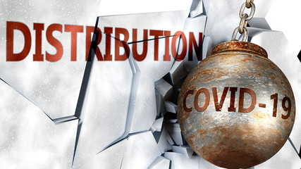 Covid and distribution,  symbolized by the coronavirus virus destroying word distribution to picture that the virus affects distribution and leads to recession and crisis, 3d illustration Wall mural