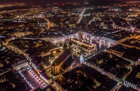 Krakow old city aerial evening time