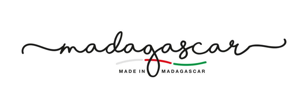 Made in Madagascar handwritten calligraphic lettering logo sticker flag ribbon banner