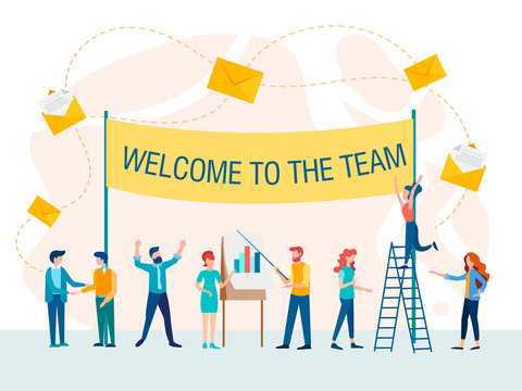 Welcome to team concept vector illustration.