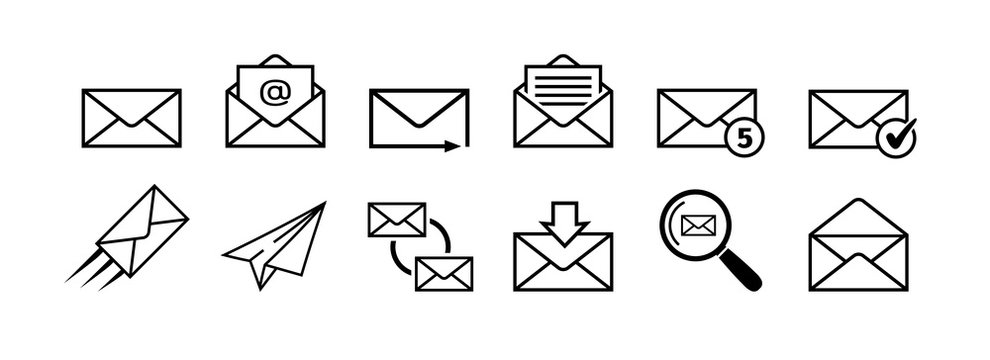 Mail icon set. Mail delivery symbols. Letter in envelope. Set of email signs in flat style. Sending message icon collection isolated on white Vector illustration for graphic design, logo, Web, UI, app