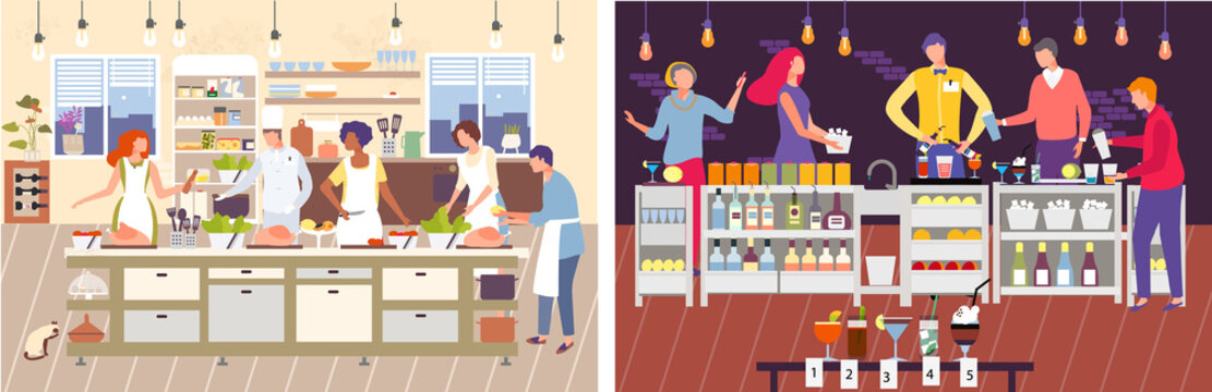 Cooking master class vector illustration. Cartoon man woman characters cook food with master chef in restaurant kitchen, people bartenders preparing cocktails in bar. Flat workshop landing page set