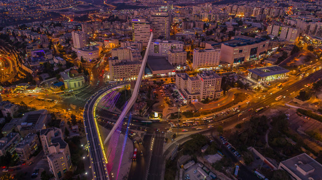 Jerusalem city center at night, Israel, aerial drone view