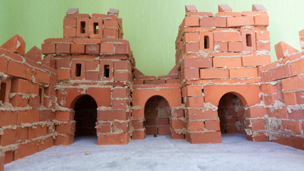 toy castle made of red bricks Fototapete