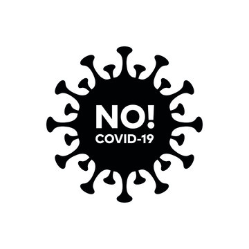 """No corona virus """"Covid-19"""" pandemic isolated vector icon with No!Covid-19 label for web and mobile"""