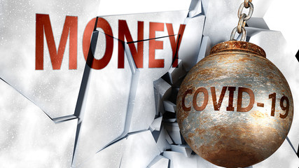 Covid and money,  symbolized by the coronavirus virus destroying word money to picture that the virus affects money and leads to recession and crisis, 3d illustration