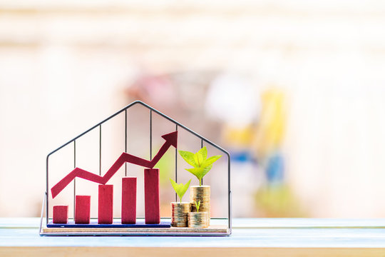Red arrow graph and stacked coin with plant growing value on top put in the home model in the public park, Saving for buy house or loan for business investment real estate concept.