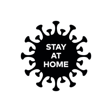 """Corona virus """"Covid-19"""" pandemic isolated vector icon with Stay at home label for web and mobile"""