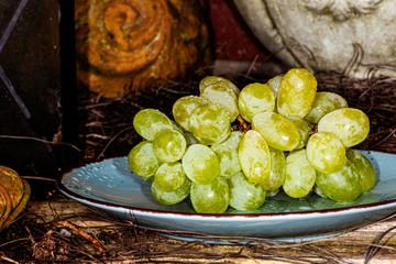Weintrauben, grün, hell reif, Teller, appetietlich, bio, süss, löecker, Wein Fototapete