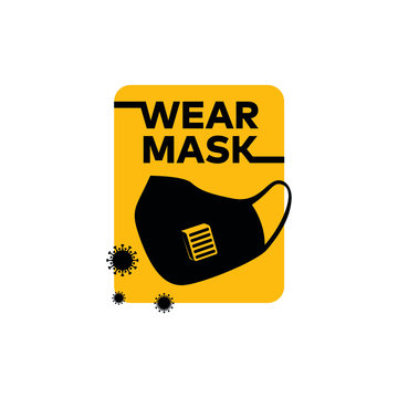 """Wear mask against Corona virus """"Covid-19"""" pandemic isolated vector icon for web and mobile"""