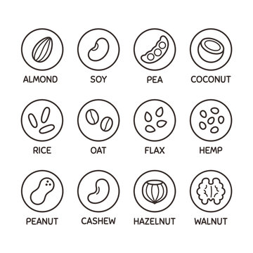 Plant based milk icon set