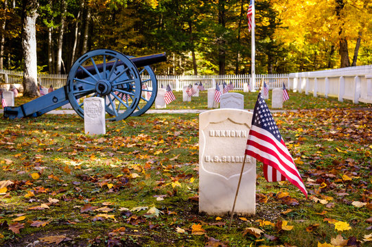 Grave of Unknown Soldier at Fort Mackinac Post Cemetery