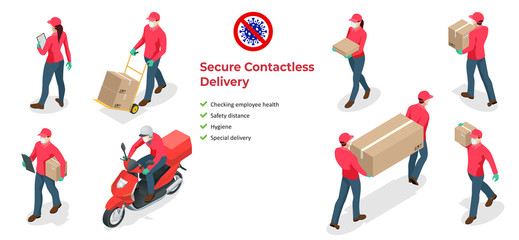 Isometric icons of delivery man and woman or courier in a medical mask and gloves delivering food to customer at home. Online purchases during a quarantine. Contactless or to the door delivery. Papier Peint
