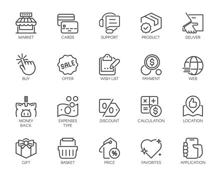 Shopping, E-commerce, Online Store Outline Icons Set.
