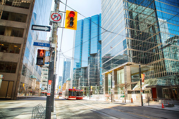Toronto, Ontario, Canada - April 2, 2020: Downtown Toronto during Coronavirus pandemic. Empty streets of Toronto during rush our.
