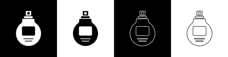 Set Perfume icon isolated on black and white background. Vector Illustration Wall mural