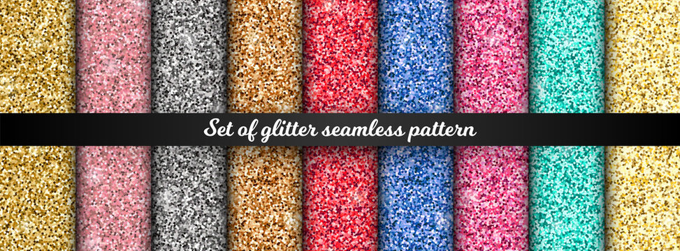 Glitter shiny seamless pattern set. Luxury design elements collection, golden, silver, rose gold, pink texture for print, decor, textile, wrapping paper, background, wallpaper. Vector illustration