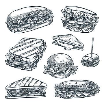 Sandwiches isolated set. Fast food snacks vector sketch illustration. Cafe lunch menu hand drawn vintage design elements