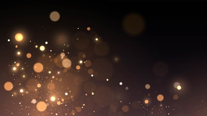 Vector background with golden bokeh dust, blur effect sparks Fotomurales