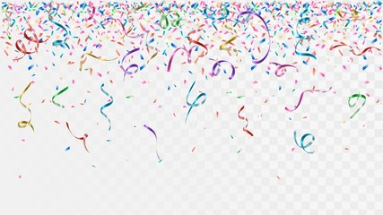 Colorful confetti and ribbons on a transparent background, falling party decorations Papier Peint