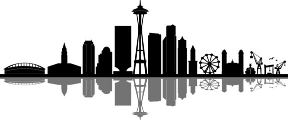 SEATTLE City Skyline Silhouette Cityscape Vector Wall mural