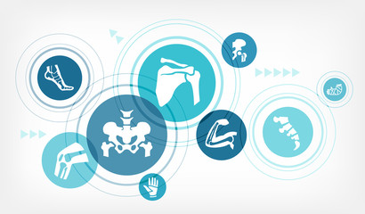 orthopedics vector illustration. Concept with connected icons related to orthopedic surgery, arthritis, skeletal and bone medical treatment or physical therapy.